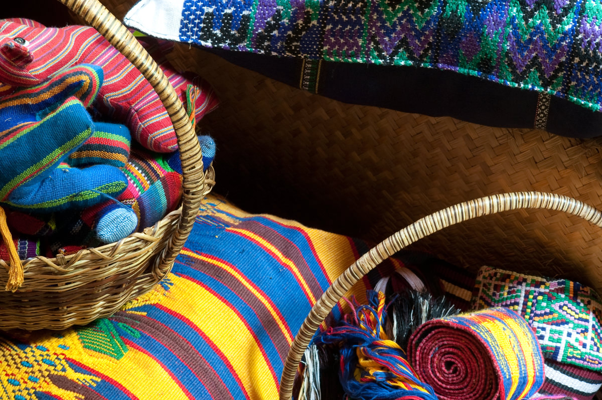 woven blankets in the gift shop