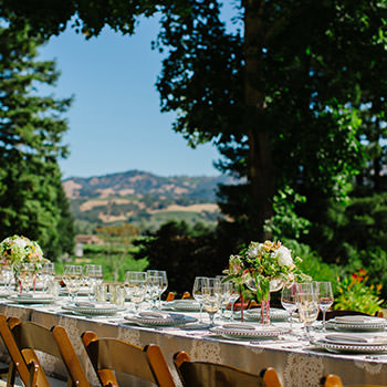 Wedding table set with vineyard in background.