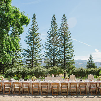 A long wedding reception table set up outside with trees and hills in the background.